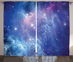 Uzayın Derinlikleri Fon Perde Mavi Yıldız Şık