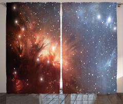 Yıldızlar ve Uzay Fon Perde Mavi Kahverengi