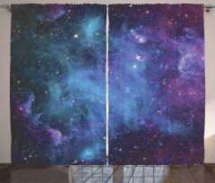Mavi Mor Nebula Desenli Fon Perde Uzay Gökyüzü