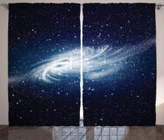 Beyaz Galaksi Desenli Fon Perde Lacivert Uzay