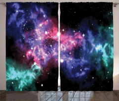 Pembe Nebula Desenli Fon Perde Lacivert Yeşil Uzay