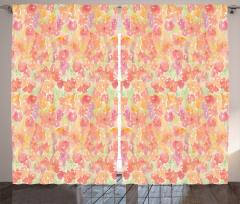 Pembe Çiçek Desenli Fon Perde Dekoratif Şık