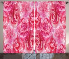 Kırmızı Gül Desenli Fon Perde Çiçek Dekoratif