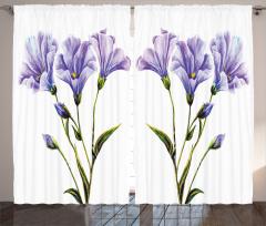 Mor Çiçek Desenli Fon Perde Beyaz Arka Plan