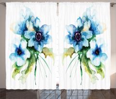 Mavi Çiçekler Desenli Fon Perde Sulu Boya