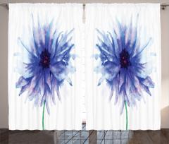 Şık Çeyizlik Çiçek Fon Perde Mavi