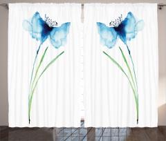 Mavi Çiçek Desenli Fon Perde Şık Tasarım