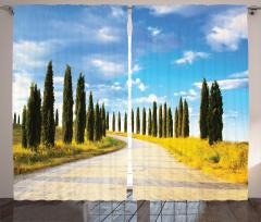 Ağaçlı Yol ve Gökyüzü Fon Perde Şık