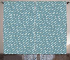 Beyaz Ok Desenli Fon Perde Mavi Fon Dekoratif
