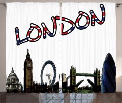 Londra Temalı Fon Perde Şık ve Dekoratif