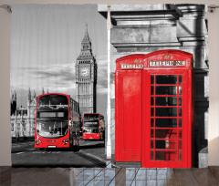 Telefon Kulübesi Temalı Fon Perde Londra