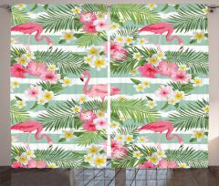 Flamingo Tropikal Çiçek Fon Perde Flamingo ve Tropikal Çiçekler