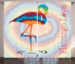 Flamingo Aşkı Fon Perde Modern Sanat