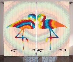 Gökkuşağı Flamingolar Fon Perde Romantik