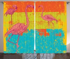 Flamingo Çizgili Desen Fon Perde Pembe Flamingo Turuncu Yeşil