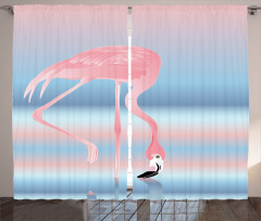 Güzel Flamingo Fon Perde Pembe Mavi Trend