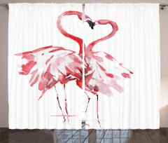 Flamingoların Aşkı Fon Perde Romantik Kırmızı