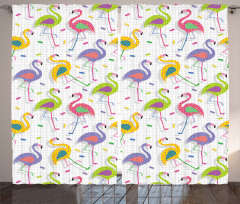 Rengarenk Flamingolar Fon Perde Yeşil Sarı