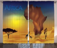 Zürafa ve Afrika Fon Perde Safari