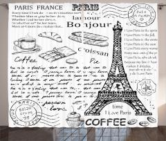 Paris Lezzetleri Fon Perde Eyfel Kulesi Siyah Beyaz