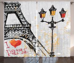 Paris Işıkları Fon Perde Eyfel Kulesi Gri Sarı
