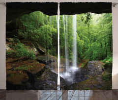 Mağara ve Şelale Temalı Fon Perde Doğa