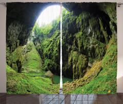 Güneş Işığı ve Mağara Fon Perde Yeşil