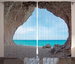 Kumsal Mağara ve Deniz Fon Perde Mavi