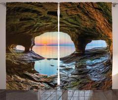 Mağara ve Gün Doğumu Fon Perde Deniz