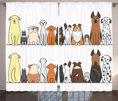 Sevimli Köpek Desenli Fon Perde Kahverengi