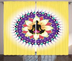 Lotus ve Mandala Fon Perde Lotus Pozu Mandala Sarı Mor