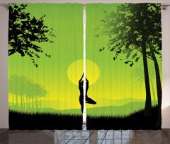 Gün Doğumunda Yoga Fon Perde Yeşil Sarı