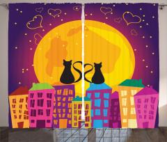 Romantik Kedi Fon Perde Romantik Kedi Mor Turuncu