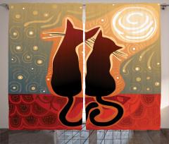 Aşık Kedi Fon Perde Gün Batımı Aşık Kedi Desenli