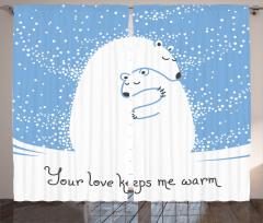 Kutup Ayısı Desenli Fon Perde Kutup Ayısı Desenli Romantik