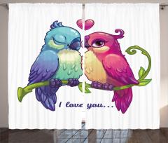 Aşık Kuşlar Desenli Fon Perde Aşık Kuşlar Desenli Romantik