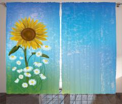 Papatya ve Ayçiçeği Fon Perde Mavi