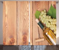 Şarap ve Üzüm Temalı Fon Perde Ahşap Zemin