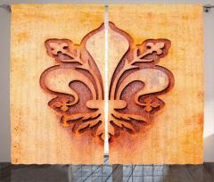 Zambak Sembolü Desenli Fon Perde Dekoratif