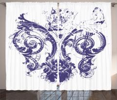 Mavi Zambak Desenli Fon Perde Dekoratif