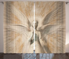 Heykel Desenli Fon Perde Melek Sanat Antik