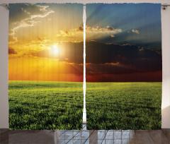 Çayır ve Güneş Işığı Fon Perde Yeşil Doğa Turuncu