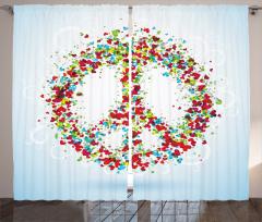 Rengarenk Kalp Desenli Fon Perde Barış Şık