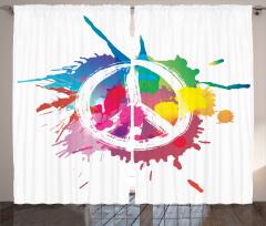 Rengarenk Barış Temalı Fon Perde Sulu Boya