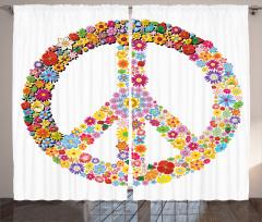 Çiçek Desenli Fon Perde Rengarenk Barış
