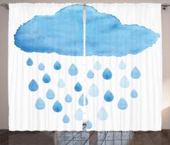Mavi Bulut Desenli Fon Perde Yağmur Damla