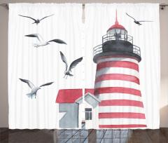 Deniz Feneri ve Kuş Fon Perde Trend