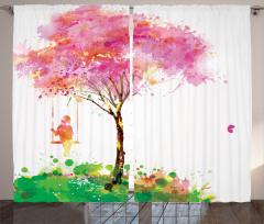 Salıncaktaki Kız Temalı Fon Perde Bahar Ağaç