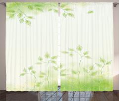 Bahar Temalı Fon Perde Yeşil Yaprak Çeyizlik