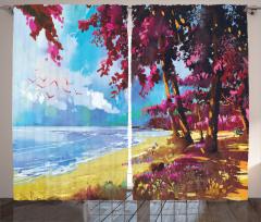 Plaj ve Ağaç Desenli Fon Perde Pembe Mavi